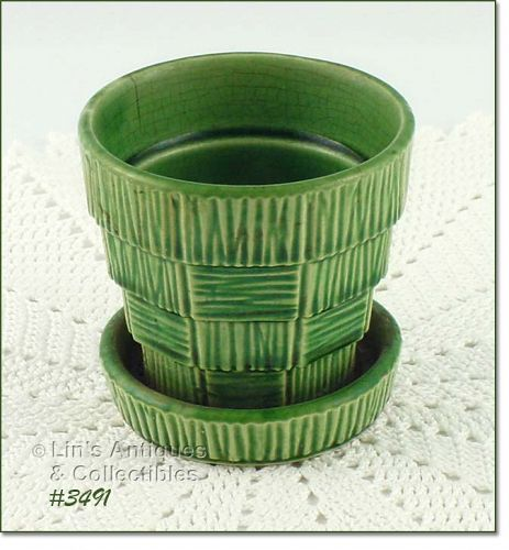 McCOY POTTERY GREEN BASKET WEAVE3 1/8 INCH TALL FLOWERPOT