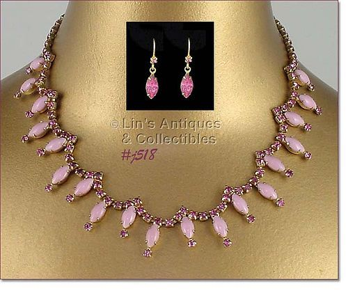 VINTAGE PINK RHINESTONES NECKLACE AND FREE BONUS EARRINGS