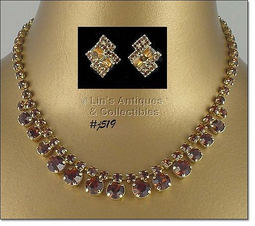 VINTAGE TOPAZ COLOR PRONG-SET RHINESTONE NECKLACE AND EARRINGS