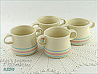 McCOY POTTERY � PINK AND BLUE SOUP MUGS / BOWLS (4)