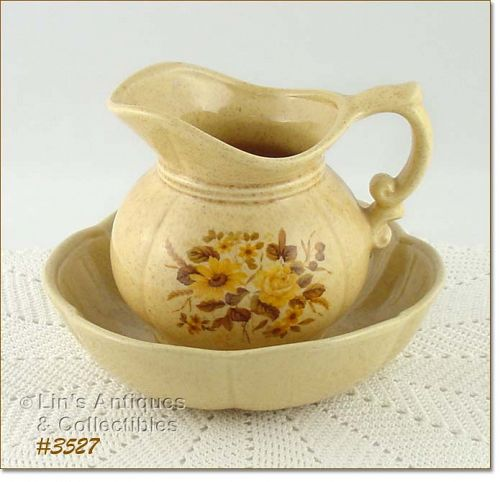 McCOY POTTERY � YELLOW FLORAL PITCHER AND BOWL