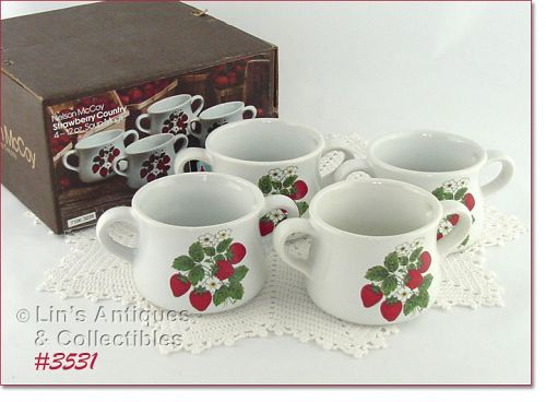 McCOY POTTERY STRAWBERRY COUNTRY SET OF 4 SOUP  BOWLS MIB
