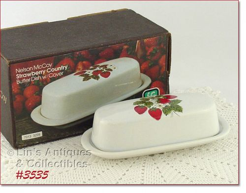 McCOY POTTERY STRAWBERRY COUNTRY BUTTER DISH MINT IN ORIGINAL BOX