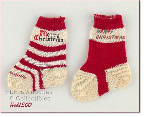 LOT OF TWO MINI CHRISTMAS STOCKINGS CHRISTMAS SOCKS
