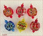 SET OF 6 VINTAGE JEWEL BRITE ORNAMENTS