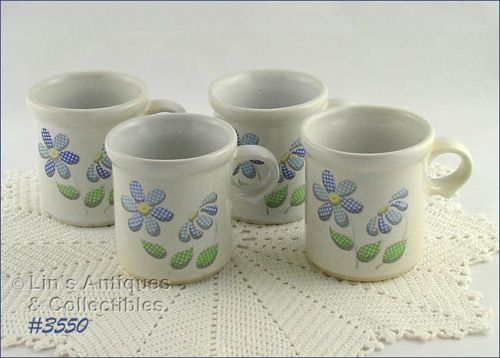 McCOY POTTERY DAISY DELIGHT CUPS SET OF 4 CUPS