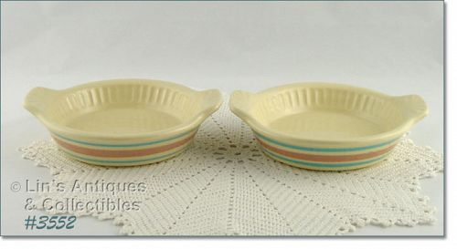 McCOY POTTERY STONECRAFT PINK AND BLUE QUICHE DISHES SET OF 2