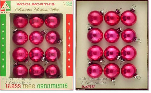WOOLWORTH�S RED GLASS ORNAMENTS (IN BOX)