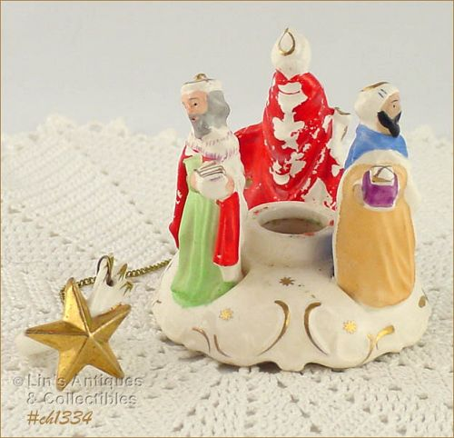THREE WISEMEN CANDLEHOLDER WITH CANDLE HUGGER