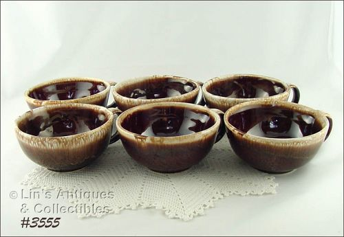 McCOY POTTERY BROWN DRIP SOUP BOWLS SET OF 6 BOWLS