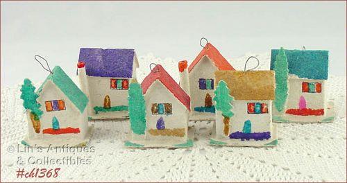 6 CARDBOARD HOUSE SHAPED ORNAMENTS