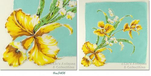 LARGE YELLOW ORCHIDS WITH LILY OF THE VALLEY VINTAGE HANDKERCHIEF