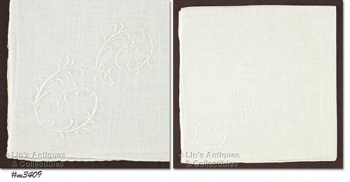 WHITE �E� MONOGRAM HANDKERCHIEF
