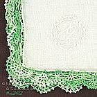 �A� MONOGRAM HANKY WITH CROCHET EDGE