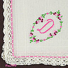 �D� MONOGRAM HANDKERCHIEF WITH CROCHET EDGE