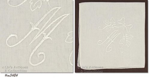 WHITE HANKY WITH WHITE �M� MONOGRAM