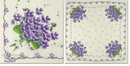 BOUQUETS OF PURPLE VIOLETS VINTAGE HANKY HANDKERCHIEF