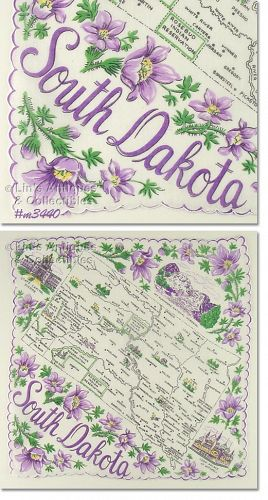 STATE SOUVENIR HANKY FOR SOUTH DAKOTA