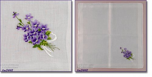 VINTAGE WHITE HANKY WITH EMBROIDERED BOUQUET OF PURPLE VIOLETS