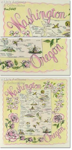 SOUVENIR HANKY FOR WASHINGTON AND OREGON