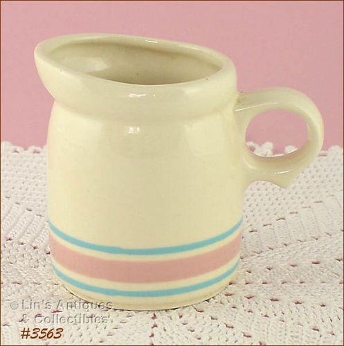 McCOY POTTERY VINTAGE STONECRAFT PINK AND BLUE CREAMER
