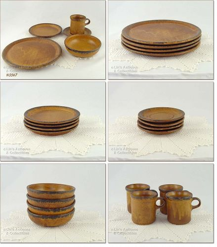 McCOY POTTERY VINTAGE CANYON 20 PIECES DINNERWARE SERVICE FOR 4