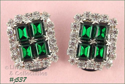 VINTAGE EMERALD GREEN AND CLEAR PRONG-SET RHINESTONE CLIP EARRINGS