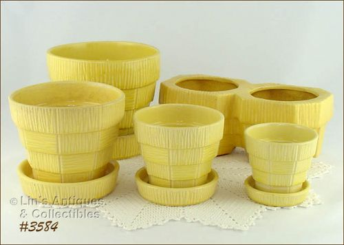 McCOY POTTERY YELLOW BASKETWEAVE PLANTER AND FLOWERPOTS LOT OF 5