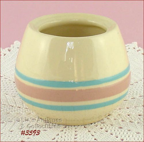 McCOY POTTERY � PINK AND BLUE SUGAR (NO LID)