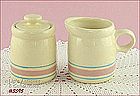 McCOY POTTERY � PINK AND BLUE SUGAR AND CREAMER