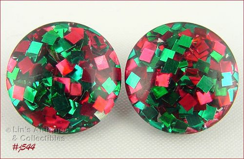 LUCITE RED AND GREEN CONFETTI EARRINGS