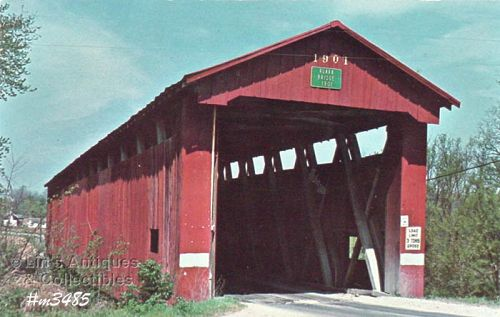 COVERED BRIDGE POSTCARD � RUARK COVERED BRIDGE, PUTNAM CO, INDIANA