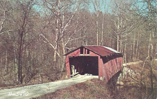 COVERED BRIDGE POSTCARD ROLLING STONE COVERED BRIDGE, PUTNAM CO, IN.