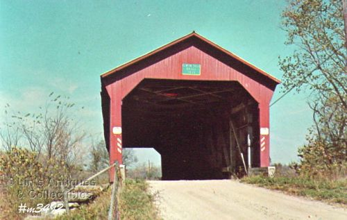 COVERED BRIDGE POSTCARD � OLD RACCOON COVERED BRIDGE, PUTNAM CO, IN.