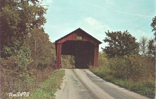 COVERED BRIDGE POSTCARD EDNA COLLINS COVERED BRIDGE, PUTNAM CO, IN.