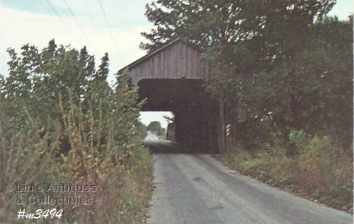 COVERED BRIDGE POSTCARD � PARKER COVERED BRIDGE, PUTNAM CO, INDIANA