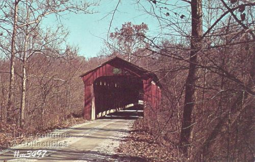 COVERED BRIDGE POSTCARD � PINE BLUFF COVERED BRIDGE, PUTNAM CO, IN.