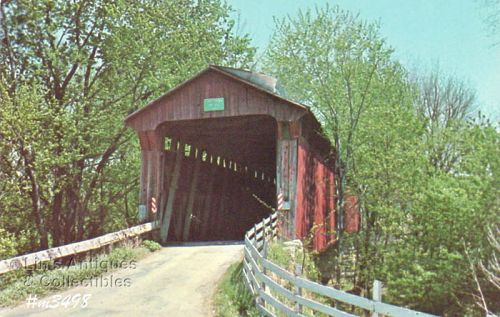 COVERED BRIDGE POSTCARD � DICK HUFFMAN COVERED BRIDGE, PUTNAM CO, IN.