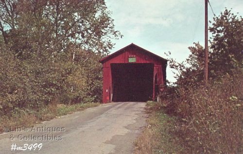 COVERED BRIDGE POSTCARD � HOUCK COVERED BRIDGE, PUTNAM CO, INDIANA