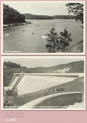 LOT OF TWO VINTAGE PHOTO POSTCARDS OF NORRIS LAKE, TN (ONE 1949)