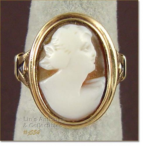 Vintage 10k Yellow Gold Carved Shell Cameo Ring
