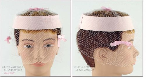 PINK CAGE STYLE HAT WITH NETTING VEIL