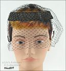 BLACK CAGE STYLE HAT WITH NETTING VEIL