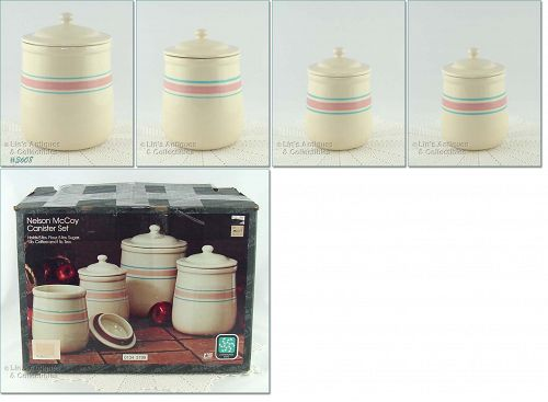 McCOY POTTERY � PINK AND BLUE CANISTER SET (IN BOX)