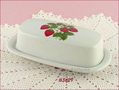 McCOY POTTERY STRAWBERRY COUNTRY COVERED BUTTER DISH
