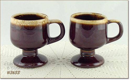 McCOY POTTERY � BROWN DRIP PEDESTAL CUPS (2)