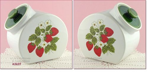 McCOY POTTERY STRAWBERRY COUNTRY TILT COOKIE JAR OR CANISTER