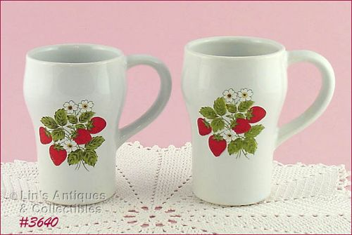 McCOY POTTERY SET OF TWO STRAWBERRY COUNTRY TALL MUGS SODA MUGS