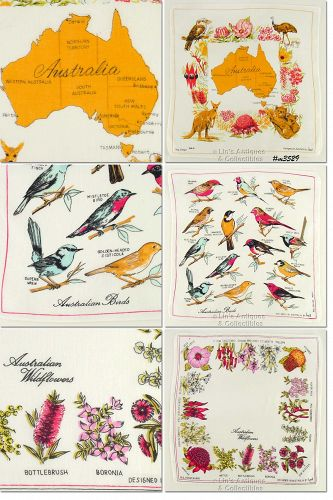 LOT OF THREE AUSTRALIA SOUVENIR HANDKERCHIEFS DESIGNED BY HEIL
