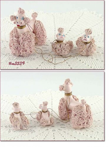 VINTAGE PINK SPAGHETTI POODLE WITH TWO PINK SPAGHETTI BABIES